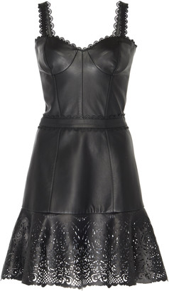 ZUHAIR MURAD Alicante Laser-Cut Leather Mini Dress