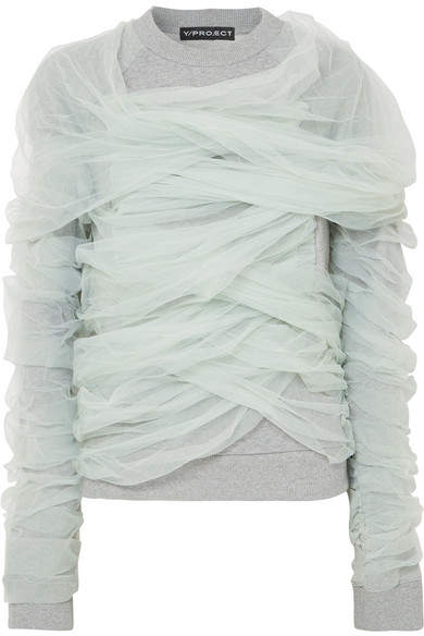 Y/Project Tulle-wrapped Cotton-jersey Sweatshirt - Light gray