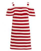 Max Mara Weekend Womens Palmira Red White Striped Off Shoulder Jersey Dress