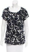 Oscar de la Renta Silk Abstract Print Top