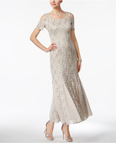 R & M Richards Petite Lace Cold-Shoulder Gown