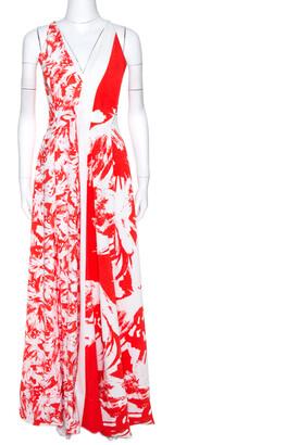 Roland Mouret Bicolor Berkeley Print Cloque Sleeveless Gown S