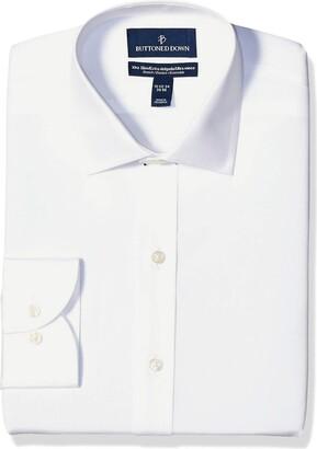 Buttoned Down Men's Xtra-Slim Fit Spread-Collar Stretch Poplin Non-Iron Dress Shirt
