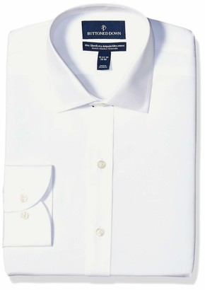 "Buttoned Down Xtra-slim Fit Spread-collar Stretch Poplin Non-iron Dress Shirt White 15.5"" Neck 33"" Sleeve"
