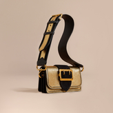 Burberry The Small Buckle Bag in Metallic Leather and Suede