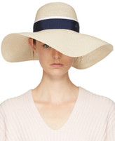 Maison Michel Beige and Navy Straw Blanche Hat