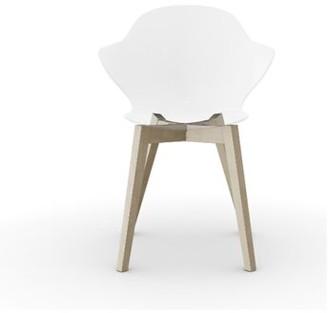 Calligaris Saint Tropez Solid Wood Side Chair Leg Color: Bleached Beech Wood, Color: Glossy Optic White Polycarbon