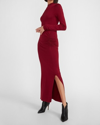 Express Ruched Side Long Sleeve Maxi Dress