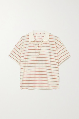 The Great Cropped Striped Cotton-jersey Polo Shirt - White