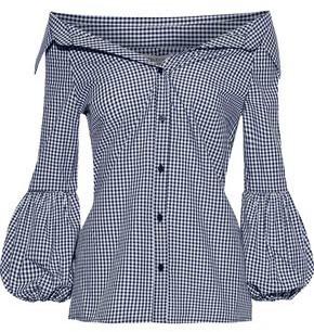 Bailey 44 Bleeding Heart Off-the-shoulder Gingham Cotton-poplin Shirt