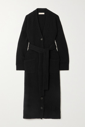 &Daughter Net Sustain Ronnie Belted Wool Cardigan - Black