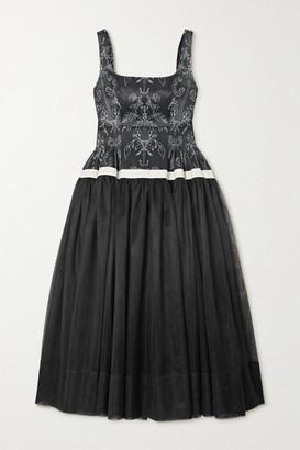 MINJUKIM Paneled Printed Satin And Chiffon Midi Dress - Black