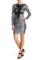 Dress the Population Dani Front Crochet Knit Embellished Sequin Dress