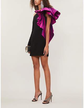 Rasario One-sleeved ruffle-trim crepe mini dress