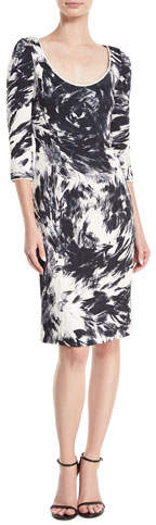 Naeem Khan 3/4-Sleeves Scoop-Neck Matelasse Printed Dress