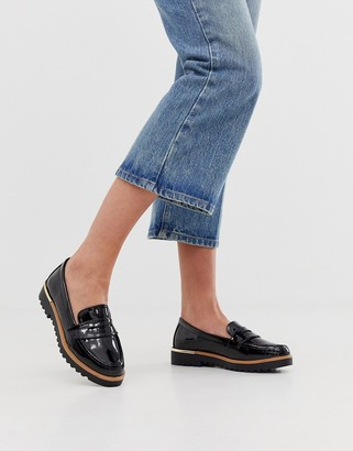 New Look chunky patent loafers in black