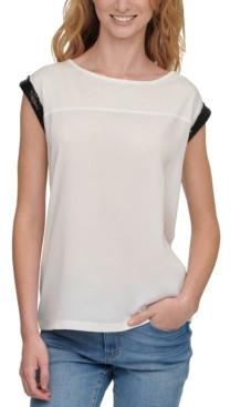 DKNY Mixed-Media Sequined-Sleeve Top