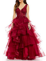 Ellie Wilde Embellished Lace Bodice Asymmetric Tiered Ball Gown