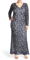 Marina Plus Size Women's Long Sleeve Sequin Lace Gown