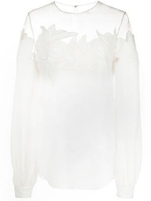 Oscar de la Renta Sheer Neck Embroidered Blouse