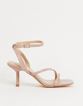 Truffle Collection strappy mid heeled sandals in pink