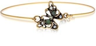Alcozer & J Butterfly Goldtone Brass Bangle w/Glass Pearls