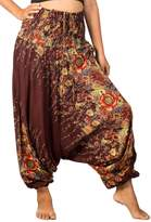 Lofbaz Women's Floral Printed Smock Waist 2 in 1 Jumpsuit Pants Brown L