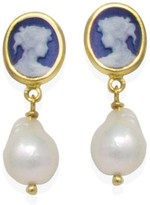 Vintouch Italy Blue Mini Cameo & Pearls Stud Earrings