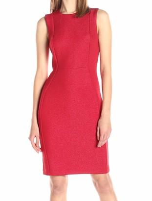 Calvin Klein Women's Round Neck Sleeveless Scuba Sheath Dress