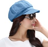 Siggi Womens Visor Beret Newsboy Hat Cap for Ladies 100% Cotton Spring Summer Blue