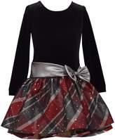 Bonnie Jean Girls 7-16 Velvet Dress with Drop Waist Plaid Skirt