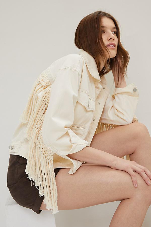 Blank NYC Sacha Fringed Denim Jacket By in White Size XS