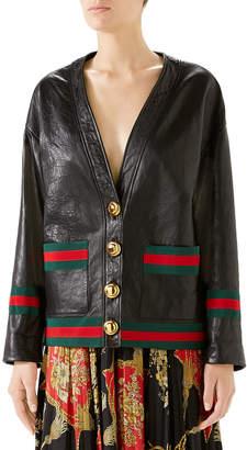 Gucci Web Ribbon-Trim Leather Cardigan