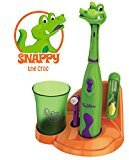 Brusheez Children's Electronic Toothbrush Set - Includes Battery-Powered Toothbrush, 2 Brush Heads, Cute Animal Head Cover, 2-Minute Sand Timer, Rinse Cup, and Storage Base - Snappy the Croc