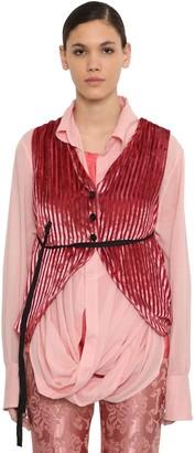Ann Demeulemeester V Neck Draped Velvet Corduroy Vest