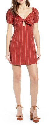 J.o.a. Striped Tie Front Linen Blend Mini Dress