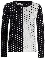 Saks Fifth Avenue Silk Cashmere Polka Dot Jacquard Crew Sweater