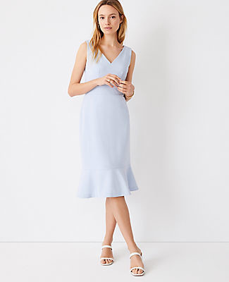 Ann Taylor V-Neck Flounce Sheath Dress