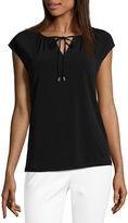 Liz Claiborne Short Sleeve Keyhole Neck Knit Blouse-Petites