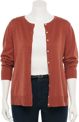 Croft & Barrow Plus Size Essential Button-Front Cardigan