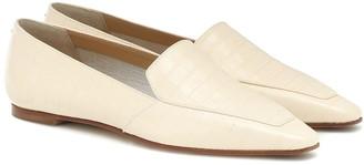 AEYDĒ Aurora croc-effect leather loafers