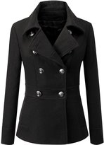 Ilishop Women's Toggle Wool Blend Double Breasted Trench Coat Short Wool Coat