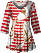 Lily Women's Tunics RED - Red & White Stripe Nautical Status V-Neck Tunic - Women & Plus
