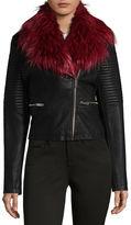Joujou Jou Jou Removeable Fur Faux Leather Moto Jacket-Juniors