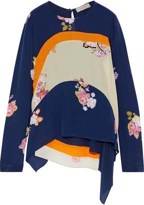 Preen Line Svana Asymmetric Patchwork Floral-print Crepe De Chine Top