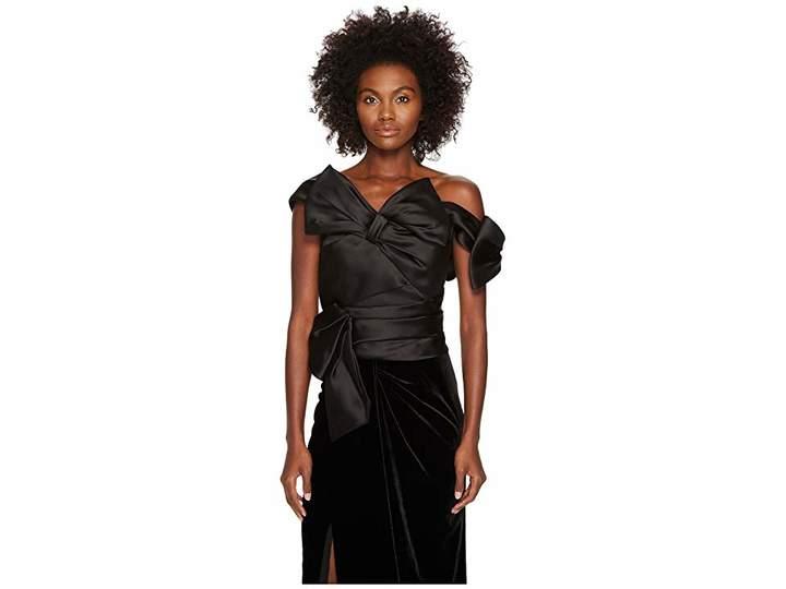Marchesa Satin Bow Top Women's Clothing