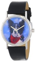 Whimsical Watches Kids' R0130028 Classic Border Collie Black Leather And Silvertone Photo Watch