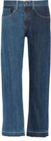 Rag & Bone Two-tone cropped mid-rise straight-leg jeans
