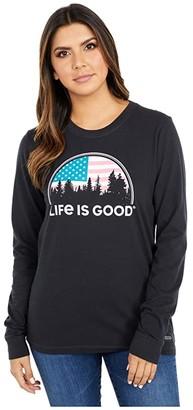 Life is Good American Landscape Crushertm Long Sleeve (Jet Black) Women's Clothing