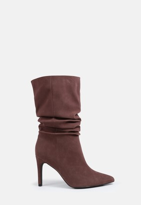 Missguided Chocolate Faux Suede Ruched Stiletto Ankle Boots